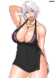 1girl alternate_costume areola_slip areolae arm_behind_head arm_up black_dress blue_eyes bracelet breasts christie_(doa) cleavage curvy dead_or_alive dress jewelry large_breasts lips lipstick makeup necklace no_bra papepox2 parted_lips pendant short_dress short_hair side_slit solo standing thick_thighs thighs white_hair