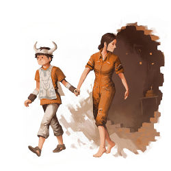 ._. 1boy 1girl barefoot brown_hair cake chell commentary crossover food hand_holding horns ico ico_(character) jumpsuit junkboy parody pastry ponytail portal revision sleeves_rolled_up tabard traditional_media