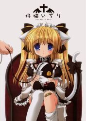 1girl animal_ears bandaid blonde_hair blue_eyes cat_ears cat_tail collar highres leash loli nekoneko solo_focus tail thighhighs twintails rating:Questionable score:1 user:danbooru