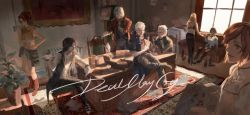 4boys 4girls black_hair blonde_hair brown_hair carpet chair copyright_name couch dante_(devil_may_cry) desk devil_may_cry devil_may_cry_5 eating everyone family father_and_son food good_end highres jewelry kyrie lady_(devil_may_cry) limiicirculate messy_room multiple_boys multiple_girls necklace nero_(devil_may_cry) nico_(devil_may_cry) open_mouth paper pizza pizza_box plant short_shorts shorts silver_hair sitting smile standing sunlight trish_(devil_may_cry) uncle_and_nephew v_(devil_may_cry) vergil window