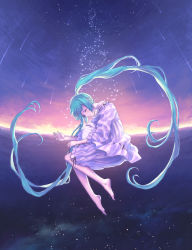1girl aqua_hair bare_shoulders barefoot cat eyes_closed feet female full_body hands hatsune_miku highres hisakata_souji long_hair outdoors pajamas sky sleeping solo starduster_(vocaloid) twintails very_long_hair vocaloid