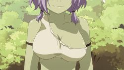 10s 1girl animated animated_gif bouncing_breasts breasts cleavage close-up goblin green_skin haruna_(tensei_shitara_slime_datta_ken) large_breasts midriff monster_girl navel purple_hair smile solo tensei_shitara_slime_datta_ken upper_body rating:Safe score:75 user:Perv-Ultra
