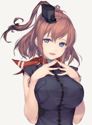 1girl anchor black_dress blue_eyes breast_pocket breast_suppress breasts brown_hair dress hair_ornament hands_together kantai_collection large_breasts long_hair open_mouth pocket red_neckerchief rokuwata_tomoe saratoga_(kantai_collection) shirt side_ponytail sidelocks simple_background smile smokestack solo taut_clothes taut_shirt white_background