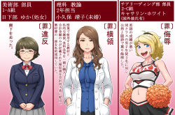 3girls blonde_hair breasts brown_hair cheerleader chicken_(nijie) glasses labcoat large_breasts long_hair multiple_girls pom_poms ponytail school_uniform short_hair sleeveless text_focus translation_request