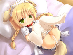 1girl aftersex animal_ears anus bangs bed bed_sheet blonde_hair blush braid clitoris collar crying crying_with_eyes_open cum cum_in_pussy cum_on_body cum_on_clothes cum_on_lower_body cum_on_pussy cum_on_upper_body cum_pool cumdrip dog_ears dog_tail drooling empty_eyes eyebrows eyebrows_visible_through_hair facial female from_above green_eyes groin langbazi leash legs_apart legs_up loli long_hair looking_at_viewer lying maid maid_headdress no_nose on_back on_bed original panties panty_pull pantyhose pantyhose_pull pillow pussy saliva shiny shiny_skin short_sleeves solo tail tears tied_hair twin_braids uncensored underwear white_legwear white_panties rating:Explicit score:37 user:Domestic_Importer