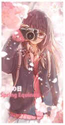 1girl 2019 black_hair blazer brown-framed_eyewear buttons camera collared_shirt commentary_request day glasses glint hand_up head_tilt holding holding_camera jacket jerry3912 long_hair long_sleeves looking_at_viewer necktie open_clothes open_jacket original petals pink_cardigan pleated_skirt purple_eyes red_neckwear school_uniform shirt skirt sleeves_past_wrists solo striped striped_neckwear upper_body white_shirt wing_collar