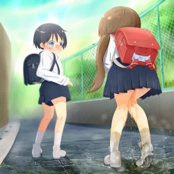 1boy 1girl 22m backpack bag bangs black_hair blue_skirt blue_sky blush brown_hair character_request day eyebrows_visible_through_hair fence from_behind full_body grey_eyes have_to_pee knees_together_feet_apart loli looking_back nose_blush open_mouth outdoors peeing peeing_self pleated_skirt puddle randoseru school_uniform shiny shiny_hair shoes short_hair short_shorts shorts skirt sky socks standing steam suspenders tied_hair trembling twintails uniform wet_clothes white_footwear white_legwear rating:Questionable score:3 user:AngryZapdos