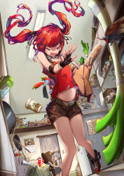 2girls bag baguette bread bug carrot cockroach coffee_cup commentary_request cup cz-75_(girls_frontline) destroyer_(girls_frontline) disposable_cup food girls_frontline groceries grocery_bag highres insect kitchen multiple_girls navel red_hair renze_l scared shopping_bag shorts spring_onion starbucks surprised tank_top throwing twintails vegetable