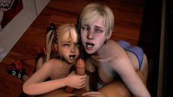1boy 2girls 3d ass blonde_hair crossover cum cum_in_mouth dead_or_alive facial kushishekku marie_rose multiple_girls nude panties pov resident_evil sherry_birkin source_filmmaker teamwork tecmo uncensored underwear rating:Explicit score:49 user:Jagdpanzer_38t
