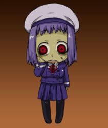 1girl bad_id beret blood harukaze_unipo hat open_mouth original pantyhose purple_hair red_eyes saliva school_uniform skirt solo tareme unipo yukari-chan zombie rating:Safe score:4 user:danbooru