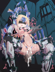 1girl ball_gag bdsm blazblue blindfold blonde_hair blue_eyes bondage bottomless bound chains gag highres infraton mu-12 restrained sex tally_mark text_focus uncensored rating:Explicit score:4 user:cyberware