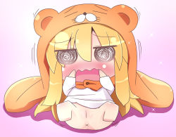 1b 1girl @_@ animal_costume animal_hood anus blonde_hair blush bottomless chibi cloak doma_umaru embarrassed female full_body gradient gradient_background hamster_costume hand_to_own_mouth himouto!_umaru-chan hood legs_up loli long_hair long_sleeves lying on_back open_mouth pink_background pussy shirt solo sparkle spread_legs trembling uncensored wavy_mouth white_background