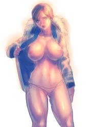 1girl areolae blonde_hair breasts exposed jacket katou_teppei large_breasts lips looking_at_viewer navel nipples open_clothes open_jacket panties resident_evil resident_evil_6 sherry_birkin short_hair side-tie_panties sketch solo underwear