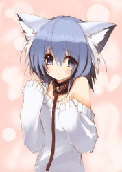 1girl animal_ears blue_eyes blue_hair blush cat_ears collar female flat_chest leash long_sleeves looking_at_viewer matching_hair/eyes naporu off_shoulder original rope sleeves_past_wrists solo sweater rating:Safe score:40 user:danbooru