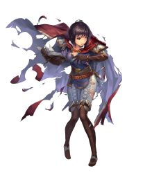 1girl belt book brown_hair cape cuboon elbow_gloves fire_emblem fire_emblem:_thracia_776 fire_emblem_heroes full_body gloves highres holding holding_book official_art olwen_(fire_emblem) one_eye_closed pant purple_eyes short_hair solo sword thighhighs torn_clothes transparent_background weapon rating:Safe score:6 user:danbooru
