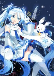 1girl 39 absurdres blue_eyes blue_hair bunny detached_sleeves fang hatsune_miku headset highres k.syo.e+ long_hair mittens necktie open_mouth scarf skirt snowflakes star thighhighs twintails very_long_hair vocaloid yuki_miku yukine_(vocaloid)