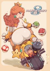 1girl :d alternate_costume alternate_hairstyle ass banana_peel belt blooper blue_eyes blush bob-omb bodysuit brown_hair cameltoe coin crown earrings female flower_earrings from_behind gloves ground_vehicle huge_ass ibukichi impossible_clothes jewelry koopa_shell looking_back mario_(series) mario_kart mario_kart_8 motor_vehicle motorcycle mushroom nintendo open_mouth orange_belt orange_gloves orange_hair orange_scarf plump princess_daisy racing_suit riding scarf skin_tight smile solo star starman_(mario) super_mario_bros. super_mario_land super_mushroom super_star tight tomboy turtle_shell vehicle rating:Questionable score:67 user:animeboy12