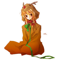 1girl christmas collar costume female full_body honokan kirisame_marisa leash lowres reindeer simple_background solo touhou white_background rating:Safe score:0 user:danbooru