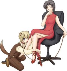 00s 2girls animal_ears barefoot black_hair blonde_hair china_dress chinese_clothes collar dog_ears dress eyes_closed leash legs_crossed maria-sama_ga_miteru mizuno_youko multiple_girls satou_sei single_shoe sitting smile rating:Questionable score:2 user:danbooru