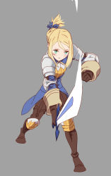 06erunium 1girl agrias_oaks armor blonde_hair braid final_fantasy final_fantasy_tactics gloves knight long_hair single_braid solo sword weapon