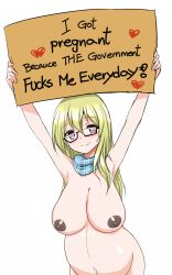 1girl areolae arms_up black-framed_eyewear blonde_hair blush breasts cleavage dark_nipples english_text female glasses highres holding holding_sign humor large_breasts long_hair looking_at_viewer naked_scarf nipples nude original pregnant profanity pun red_eyes scarf semi-rimless_eyewear sign simple_background smile solo third-party_edit truth typo under-rim_eyewear white_background zaxwu rating:Explicit score:17 user:Bripip