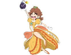 1girl arm_up bob-omb bomb brown_hair crown dress earrings energetic flower_earrings frilled_dress frills gem gloves happy high_heels highres jewelry legs mario_(series) nintendo open_mouth princess_daisy puffy_short_sleeves puffy_sleeves sassy short_hair short_sleeves smile super_mario_bros. super_mario_land super_mario_run super_smash_bros. tomboy yellow_dress rating:Safe score:5 user:Mr._Jive
