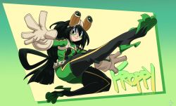 1girl asui_tsuyu belt black_eyes black_hair bodysuit boku_no_hero_academia boots breasts female frog_girl gloves goggles high_heel_boots high_heels liefeldian_abomination long_hair looking_at_viewer monster_girl solo thigh_boots thighhighs