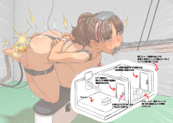 1girl anal anal_object_insertion arms_behind_back balancing bangs bdsm blush bondage bound box_tie breasts brown_hair cross_section crying crying_with_eyes_open directional_arrow door double_penetration eating eyebrows_visible_through_hair food freckles green_scrunchie ha_ku_ronofu_jin hanging_breasts high_ponytail highres indoors inset kneeling konnyaku_(food) leaning_forward medium_breasts motion_lines mouth_hold multiple_insertions nipple_suction nude object_insertion one-piece_tan ponytail predicament_bondage scrunchie solo suction_cups sweat tan tanline tears text_focus toilet_seat translated vaginal vaginal_object_insertion wall