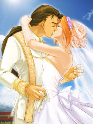 1boy 1girl bare_shoulders brown_hair dress elhaym_van_houten fei_fong_wong formal gloves gloves_removed hair_up hetero highres kiss long_hair ryukia sky strapless_dress veil wedding_dress white_gloves xenogears