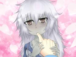 1girl biting finger_biting grey_eyes grey_skin mamono_girl_lover monster_girl paundo2 saliva silver_hair torn_clothes undead zombie zombie_(mamono_girl_lover) rating:Safe score:15 user:Rikko-43