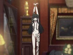 1girl arms_up bangs bdsm bit_gag black_eyes black_hair blunt_bangs bondage bookshelf bound bound_wrists byakuya_rinne censored clockup curtains euphoria_(clockup) flat_chest gag game_cg heavily_censored henna indoors long_hair looking_at_viewer mosaic_censoring navel nipples nude restrained ribs rope solo suspension tattoo rating:Explicit score:67 user:softfang