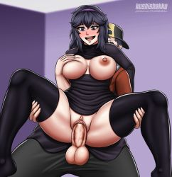 1girl artist_name black_eyes black_hair black_legwear blush breasts breasts_outside clothed_sex creatures_(company) functionally_nude game_freak hairband happy_sex held_up hex_maniac_(pokemon) highres kushishekku large_breasts leg_grab long_hair looking_at_another nintendo nipples nude open_mouth penis pokemon pokemon_(game) pokemon_xy purple_eyes purple_hair pussy pussy_juice sex skindentation smile solo_focus spread_legs testicles thick_thighs thigh_grab thighhighs thighs uncensored vaginal veins veiny_penis