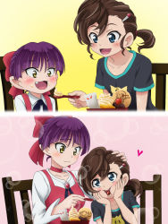 2girls :_code_register bangs black_shirt blue_eyes blush bow breasts brown_eyes brown_hair chair cherry choker collarbone commentary_request dress eyebrows_visible_through_hair fang feeding fingernails food food_on_face fruit gegege_no_kitarou hair_between_eyes hair_bow hair_ornament hairclip hands_on_own_face highres holding holding_spoon inuyama_mana mameshiba multiple_girls nekomusume nekomusume_(gegege_no_kitarou_6) on_chair print_shirt purple_hair red_bow red_choker red_dress shirt short_hair short_sleeves side_ponytail sitting sleeveless sleeveless_dress small_breasts spoon white_shirt
