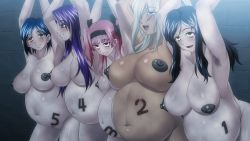 5girls arm_up armpit_hair black_package_try blue_hair breasts broken_rape_victim dark_nipples dark_skin empty_eyes game_cg huge_breasts large_breasts michibikareshi_mono-tachi_no_rakuen_~bedlam~ multiple_girls nipples nude pink_hair pregnant purple_hair women_livestock rating:Questionable score:58 user:Marcerner