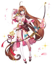 1girl ankkoyom armor arrow asymmetrical_legwear bangs belt between_breasts blue_eyes blush bow_(weapon) breasts brown_hair cameltoe cape capelet cleavage commentary_request earrings eyebrows_visible_through_hair fingerless_gloves flower full_body gloves hair_ornament hairclip highres holding holding_bow_(weapon) holding_weapon houchi_shoujo japanese_armor jewelry large_breasts leotard long_hair looking_at_viewer open_mouth petals quiver sandals shiny shiny_hair shiny_skin shoulder_armor simple_background single_glove solo sparkle standing thigh_strap thighhighs very_long_hair weapon white_gloves white_legwear white_leotard