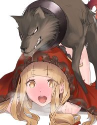 +_+ 1girl :d all_fours bangs bestiality blonde_hair blunt_bangs blush commentary_request doggystyle eyebrows_visible_through_hair heavy_breathing highres hikichi_sakuya hood little_red_riding_hood_(sinoalice) long_hair open_mouth red_hood saliva sex simple_background sinoalice skirt_around_belly smile solo sparkling_eyes teeth white_background wolf yellow_eyes rating:Explicit score:30 user:danbooru
