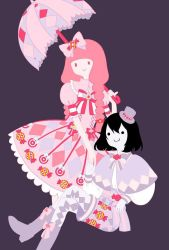 2girls adventure_time alternate_hair_lenght alternate_hairstyle argyle black_hair boots braid dress fangs flat_color hand_holding happy lolita_fashion looking_at_viewer marceline_abadeer mini_hat mizki_(pixiv3557983) multiple_girls pink_hair pinky_out princess princess_bonnibel_bubblegum purple_background red_eyes shawl short_hair shorts simple_background smile top_hat twin_braids umbrella vampire