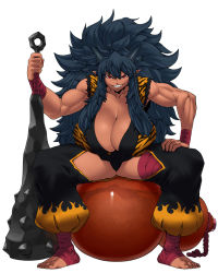 1girl animal_print ankle_wraps arm_wrap barefoot big_hair black_panties blue_hair breasts cleavage club dark_skin female gourd grin horns huge_breasts huge_weapon leaning_forward leg_wrap long_hair looking_at_viewer messy_hair muscle muscular_female oni oni_horns oversized_object panties planted_weapon pointy_ears red_eyes sharp_teeth shuten-douji_(tokyo_tenma) shuten_douji_(tokyo_tenma) sidelocks sitting sleeveless smile solo space_jin spiked_club spread_legs teeth tiger_print tokyo_tenma tokyo_tenma:_devil_slave underwear weapon rating:Safe score:71 user:danbooru