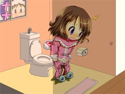 1boy 1girl bangs black_eyes blue_footwear blush brown_hair chibi embarrassed flat_chest full_body fur-trimmed_jacket fur-trimmed_sleeves fur_trim hood ice_climber indoors jacket japanese_text lowres nana_(ice_climber) nintendo nose_blush open_mouth pants pants_pull parka peeing peeing_self pink_jacket pink_pants popo_(ice_climber) sakiyami shiny shiny_hair short_hair slippers solo_focus standing toilet toilet_paper translation_request wet wet_clothes window winter_clothes rating:Questionable score:0 user:AngryZapdos