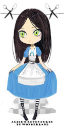 007_(pixiv295076) 1girl alice_(wonderland) alice_in_wonderland bad_id dress female green_eyes long_hair scissors solo white_background