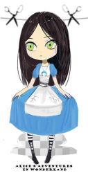 007_(pixiv295076) 1girl alice_(wonderland) alice_in_wonderland bad_id dress female green_eyes long_hair scissors solo white_background