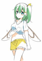 1girl alternate_costume blue_eyes blush bow colorized daiyousei fairy_wings fujishiro_emyu green_hair hair_bow hair_ornament hairclip hand_under_clothes hand_under_shirt midriff navel scratching shirt short_hair short_sleeves shorts side_ponytail simple_background sketch solo t-shirt touhou white_background wings rating:Safe score:3 user:danbooru