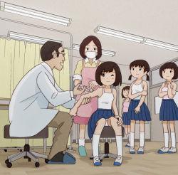 1boy blue_skirt child kiyo_(kyokyo1220) multiple_girls original skirt tagme rating:Safe score:13 user:Gaudy