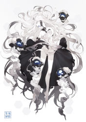 1girl abyssal_jellyfish_hime blue_eyes breasts cleavage dress floating_hair hair_censor highres kantai_collection large_breasts long_hair nine_(liuyuhao1992) no_panties shinkaisei-kan solo white_hair white_skin