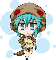 >:< 1girl :< aqua_eyes aqua_hair bangs bare_legs blush chibi closed_mouth crossed_bangs eyebrows_visible_through_hair full_body geta gradient_ribbon hands_in_pockets hood hoodie jitome kemono_friends looking_at_viewer neck_ribbon noai_nioshi outline pocket ribbon sidelocks solo standing striped_clothes striped_tail tail tsuchinoko_(kemono_friends) white_background white_outline