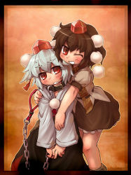 black_hair chains collar female hat hug inubashiri_momiji leash red_eyes sankuma shameimaru_aya short_hair silver_hair tokin_hat touhou wink rating:Safe score:1 user:danbooru