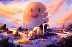 black_eyes butterfree cloud cloudy_sky commentary creature creatures_(company) diglett english_commentary game_freak gen_1_pokemon grass highres making_of nature neytirix nintendo no_humans outdoors persian pokemon pokemon_(creature) red_eyes rock sky twilight