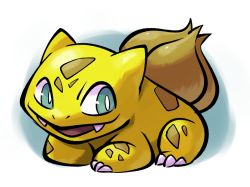 :d alternate_color aqua_eyes bulbasaur claws creature creatures_(company) fangs full_body game_freak gen_1_pokemon happy lying nintendo no_humans not_shiny_pokemon on_stomach open_mouth pokemon pokemon_(creature) simple_background smile solo thumpleweed white_background yellow_skin yellow_theme