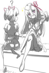 10s 2girls ? absurdres akemi_homura ass assisted_exposure cellphone from_behind hair_ribbon high_heels highres kaname_madoka legs_crossed long_hair looking_at_another looking_back magical_girl mahou_shoujo_madoka_magica monochrome multiple_girls no_panties object_on_head panties panties_on_head pantyhose phone purple_eyes pussy pussy_peek ribbon school_uniform self_shot shield shinn0512 short_hair short_twintails sitting skirt skirt_lift smile sparkle twintails underwear yuri rating:Questionable score:15 user:danbooru