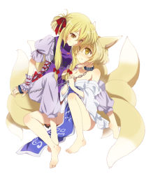 2girls animal_ears bad_id barefoot blonde_hair chains collar feet female fox_ears fox_tail kona kona_(canaria) kyuubi leash multiple_girls multiple_tails short_hair tail touhou yakumo_ran yakumo_yukari yellow_eyes rating:Safe score:4 user:danbooru